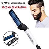 Clothsfab Quick Hair Styler for Men Electric Beard Straightener Massage Hair Comb Beard Care Comb Multifunctional Curly Hair Straightening Comb Curler For DIY Flexible Modeling - Battery Operated