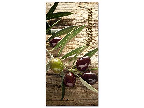GRAZDesign Acrylglasbild Wandbilder Küche XXL Italien Style - Küchenbilder Dekoration Mediterran - Küchen Wandbilder Esszimmer Olivenzweig / 50x100cm / 100267_001_01_04