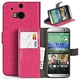 DONZO Tasche Handyhülle Cover Case für das HTC One M8 in Pink Wallet Washed als Etui seitlich aufklappbar im Book-Style mit Kartenfach nutzbar als Geldbörse
