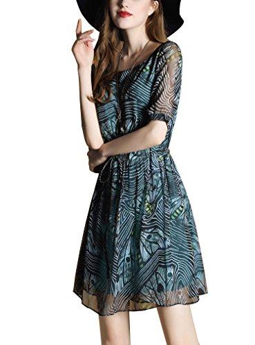 Damen 1/2 Ärmel Rundhals Druckkleid Sommerkleid Freizeitkleid Chiffon Abendkleid Cocktailkleid Als Bild