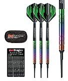 Red Dragon Voyager Rainbow Soft Tip 18g Barrel, 20g Full Weight Dartpfeile - 90% Tungsten Darts Set (Steel Dartpfeile) mit Flights, Schäfte, Brieftasche, Checkout Card