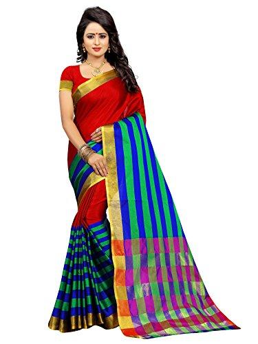 Ganga Shree Women's Cotton Silk Sarees With Blouse Piece (Gs207 _Multi-Coloured_Free Size)