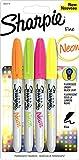 Sharpie Neon Permanentmarker, feine Spitze, 4er Packung, farblich sortiert