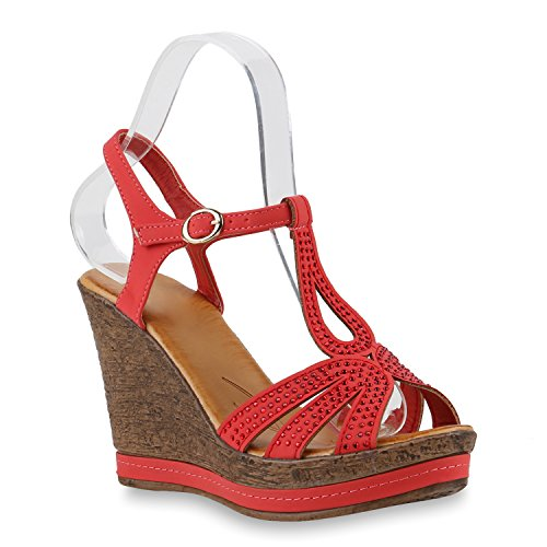 Damen Keilsandaletten Bast Sandaletten Weiße Profilsohle Wedges Rot Strass