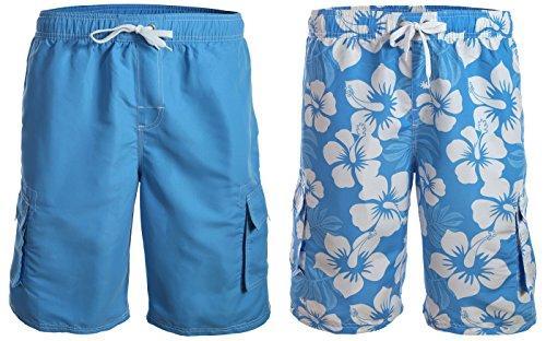 Doppelpack / Herren Boardshorts / Badeshorts / Badehose / Hibiskus / Surfen / Lässig / angesagte Trendfarben / Sommer / Strand 1214-f5272 Lang 1 Malibu Blue \\ 1 Blau/Weiß Hibiskus (1214)