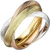 3-er Ring Damenring Dreierring aus 925 Silber mattiert tricolor vergoldet, Ringgröße:Innenumfang 56mm ~ Ø17.75-18mm