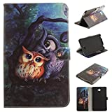 Skytar Galaxy Tab A6 10.1 T580N Hülle - Bookstyle Stand Case Cover in PU Leder Hülle für Samsung Galaxy Tab A 10.1 Zoll (2016) SM-T580N / SM-T585N Tablet Tasche Schutzhülle,Malerei-Eule