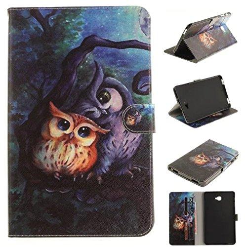 Skytar Galaxy Tab A6 10.1 T580N Hülle - Bookstyle Stand Case Cover in PU Leder Hülle für Samsung Galaxy Tab A 10.1 Zoll (2016) SM-T580N / SM-T585N Tablet Tasche Schutzhülle,Malerei-Eule