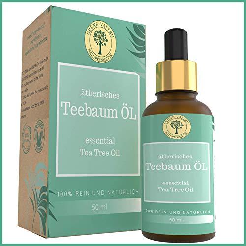 Australisches Ätherisches TeeBaumöl/Tea Tree Oil - Rein & Natürlich. Behandlung (Schnell & Intensiv): Pickel, Akne, Mitesser, Schuppen, Haarausfall, Warzen, Fuss & Nagelpilz. 50 ML Glasflasche