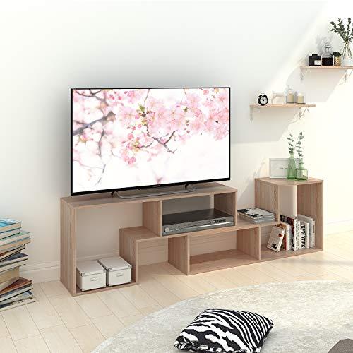 DEVAISE Multifunctional Hölzernen TV-Lowboard/Bücherregal/TV Schrank; 15mm Dicke, Eiche