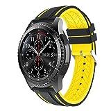 Ansenesna Neue Mode Sport Silikon Sportuhr Smartwatch Einstellen Armband für Samsung Gear S3 Frontier 2018 (Gelb)