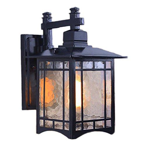 G&L Im Freien Wasserdichte Weinlese-Wand-Helle Patio-Landhaus-Balkon-Korridor-Wand-Lampe,Black - Messing Schwarz Schatten Leuchter