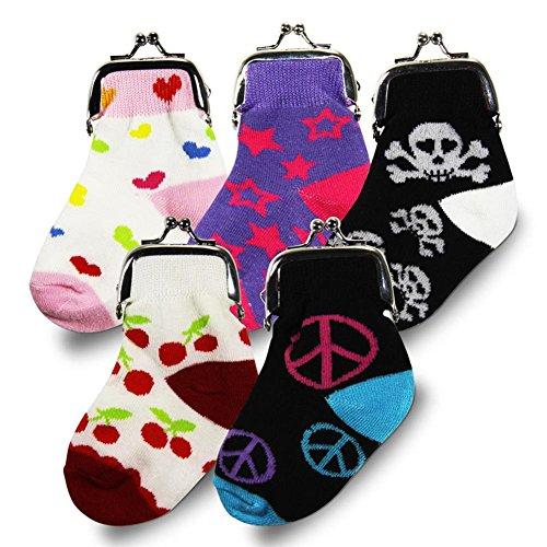 24 x HC-Handel 914260 Geldbeutel Socken Geldsocke Stoff/Metall 13 x 6 cm verschiedene Ausführungen -