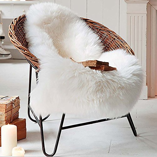 Lammfellimitat Teppich, 75 x 120 cm Lammfell Weiß Schaffell Teppich Longhair Fell Nachahmung Wolle Bettvorleger Sofa Matte (Weiß, 75 x 120 cm)