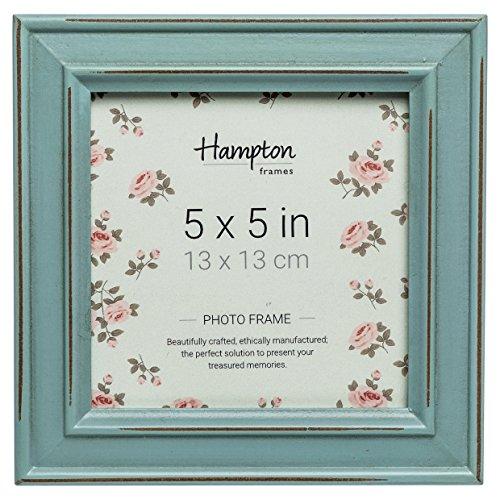 PAL301955B Paloma Square Photo Frame 5x5 (13x13cm) Blue distressed wood finish. Black backs with swivel clips. Individually boxed by Hampton Frames