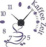 GRAZDesign 800465_BK_043 Wandtattoo Uhr mit Uhrwerk Wanduhr Küche Kaffee Zeit Kaffeetasse Kaffeebohnen (58x57cm // 043 Lavendel // Uhrwerk schwarz)