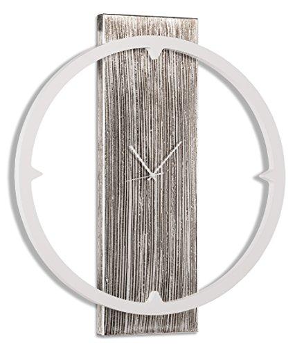 Pintdecor Bague Horloge, MDF, Blanc Ivoire/Argent, 80 x 70 x 7 cm