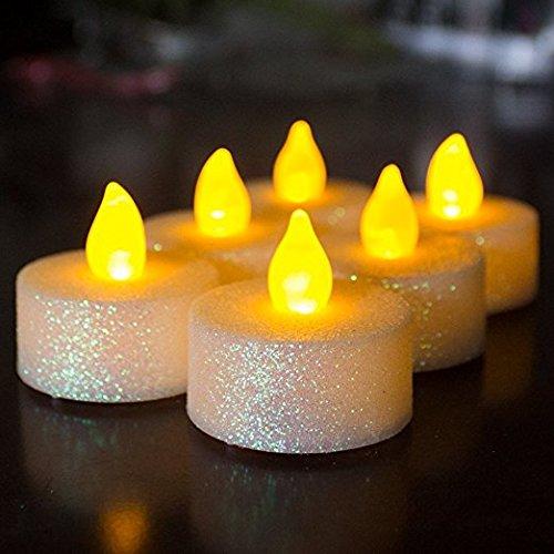 LOGUIDE LED Flammenlose Glitzer Teelicht Votivkerze Powered by Akku Beleuchtung für Hochzeit Weihnachten Dekoration 12 Silverwhite-12