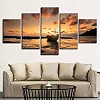 KQURNXSL Modern Wall Art Poster Home Decoration 5 Panel Sunset Ship Landscape Living Room Canvas HD Print Painting Modular Pictures Frame