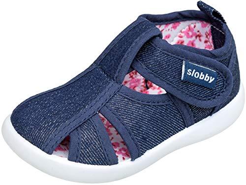 gibra® Freizeitschuhe Sneaker Sandalen aus Stoff für Babys, Kleinkinder, Kinder, Art. 0747, mit Klettverschluss, dunkelblau, Gr. 24