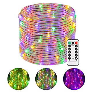 Greenclick LED Rope Lights Battery Operated Waterproof 46ft 120 LED Christmas String Lights with Remote Timer 8 Mode Dimmable Fairy Lights for Outdoor Indoor Home Decoration Multi-Color