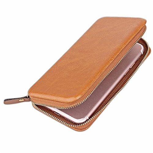 Large Capacity Magnetic Universal Phone Wallet Beutel Case Cover [Shockproof] mit Smooth Metal Zipper für bis zu 4,7 Zoll Smartphones [Gehäusegröße: 15,2 * 7,8 * 2cm] für iPhone 7 & 8 Samaung Galaxy S Brown