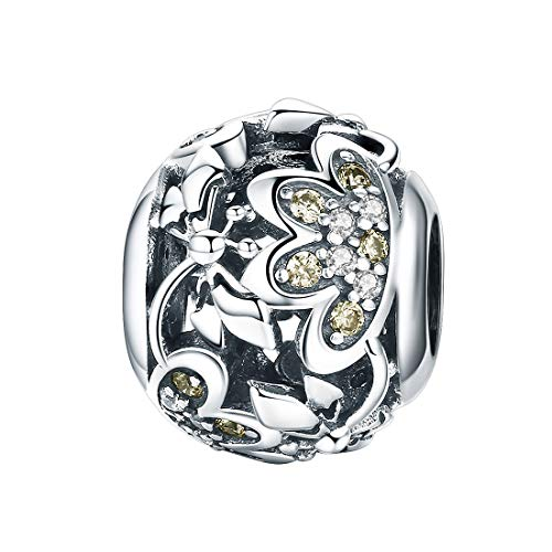 Libelle Perle Charms Insekt Lotusblume 925er Sterling Silber Charms für Schlangenkette Armband