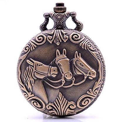 Vintage-Bronze-Pferd-Quarz-Taschenuhr-mit-Kette-Herren-Damen-Taschenuhr-mit-Box-fr-Geburtstag