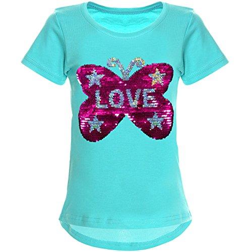 BEZLIT Mädchen Wende-Pailletten T-Shirt Tollem Schmetterling Motiv 22032, Farbe:Grün, Größe:152