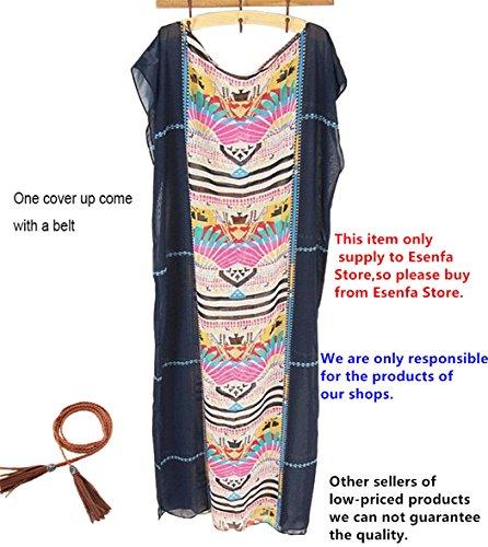 Esenfa Kaftan für Damen, lang, Chiffon, Strandtuch, Kleid, Badekleidung Navy