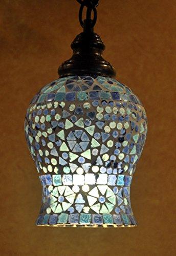 Indian Home Decorative Designer Mosaic Glass Crafted Pendant Hanging Lamp Chrismtas Ceiling Light 18 Cm