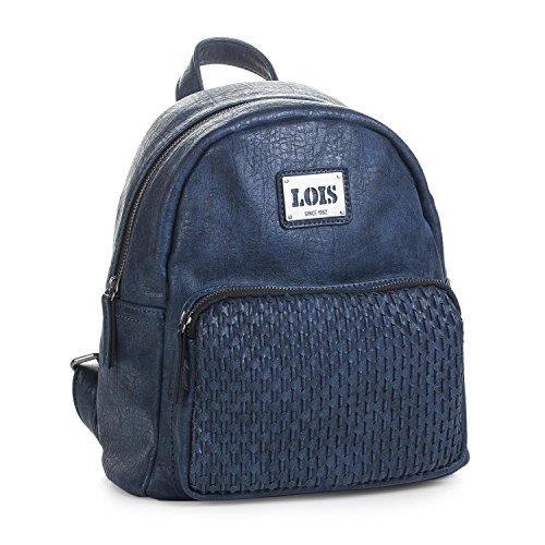 LOIS - 93399 Mochila casual de diseño. Cierre cremallera. Asa superior y tiras ajustables. Bolsillo delantero y trasero cremallera. Forro estampado., Color Azul