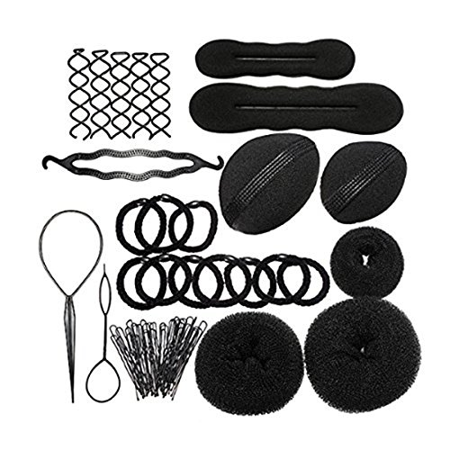 Cheveux Kit - SODIAL(R) Coiffure Stylisee Mode elastiques Pince Coiffure Boudin Rouleau Bigoudis Magique Chignon Clip Torsade de tresse Cheveux Kit