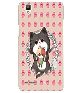 PrintDhaba Kitty D-4267 Back Case Cover for OPPO F1 (Multi-Coloured)