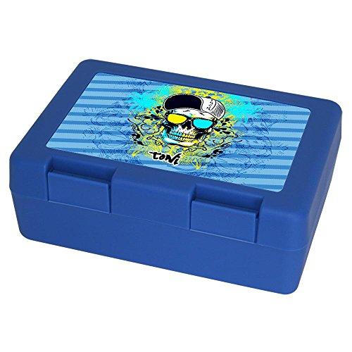 Eurofoto Brotdose mit Namen Toni und schönem Motiv mit Totenkopf für Jungen | Brotbox blau - Vesperdose - Vesperbox - Brotzeitdose mit Vornamen
