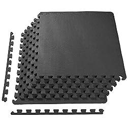 VLFit Enclavamiento Azulejos de Espuma EVA Puzzle Alfombra de Ejercicio, Protector de Suelos para Gimnasio Equipo, 6 Azulejos + Borde Incluido, Antideslizante (6 Piezas / 2,23m²)