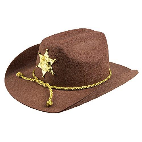 NEU Hut Deputy Sheriff, braun, mit Stern (Sheriff Deputy Kostüm)
