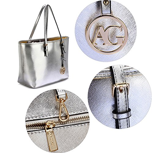LeahWard Oversize Damen Shopper Taschen Qualität Faux Leder Umhängetasche Handtaschen für Frauen Schulferien CW31 (Mude/Grau Oben offen) Silber