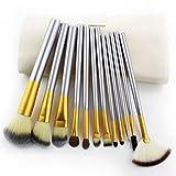 Rawdah Spazzole di trucco di 12pcs hanno fissato l'attrezzo cosmetico dell'ombretto di fondazione con il cuoio