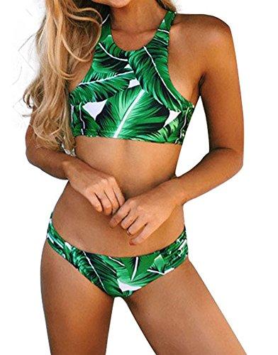 DELEY Damen Mädchen Grün Blatt Print Hohe Taille Push Up Sport Bikini Brasilianischen Sommer Bademode Badeanzug Swimwear Swimsuit Grün