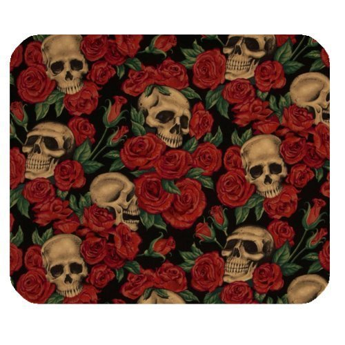 art-peinture-tete-de-mort-avec-fleur-rose-tapis-de-souris-gaming-artistic-texture-elegant-etui-a-rab