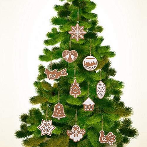 Cacys-store - Hot 11-teiliges Set mit Schneeflocke, Kekse, Weihnachtsdekoration, handgefertigt, aus Tonbaum, Weihnachtsbaum, Ornamente, Zubehör -