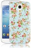 JAMMYLIZARD | Vintage Back Cover Hülle für Samsung Galaxy S4 Mini, BLAUES BLUMENMOTIV