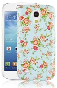 JAMMYLIZARD   Coque de protection vintage pour Samsung Galaxy S4 Mini, Roses sur fond bleu