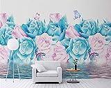 HONGYAUNZHANG Blau Rosa Blumen Benutzerdefinierte Fototapete 3D Stereoskopische Wandbild Wohnzimmer Schlafzimmer Sofa Hintergrund Wandmalereien,170Cm (H) X 250Cm (W)