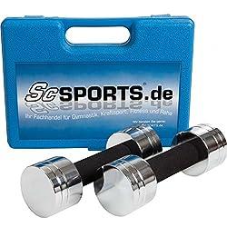 Scsports 5 kg Kurzhantel-Set, mit 2x Kurzhantelstange, Hantelscheiben chrom, komplett zerlegbar im Koffer, blau