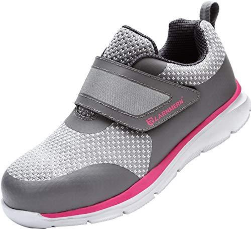LARNMERN Sicherheitsschuhe Herren Damen, SRC rutschfeste Anti-Piercing Schuhe Schutzschuhe Arbeitsschuhe mit Stahlkappe Leicht Sicherheitssneaker (38 EU Graues Rosa)