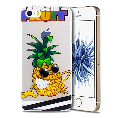 Coque iPhone 5 / 5S / SE, Coque iPhone 5 en Silicone, SpiritSun Etui Coque TPU Slim Bumper Souple Silicone Etui Coque de Protection Clair Transparente Coque Housse Flexible Doux Housse Anti Choc Prote Ananas