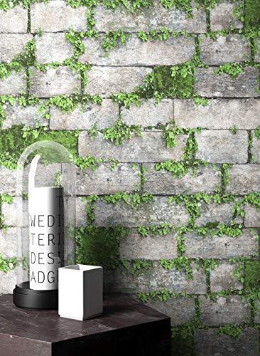 NEWROOM Steintapete Tapete Grau Mauer Stein Modern Vliestapete Grün Vlies moderne Design 3D Optik Steintapete Ziegelstein Backstein Mauerwerk Klinker Loft inkl. Tapezier Ratgeber - Grau Tapete Ziegel