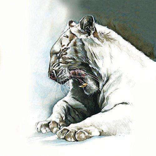Apple iPhone 5s Housse Étui Protection Coque Blanc Blanc Tigre Étui en cuir marron